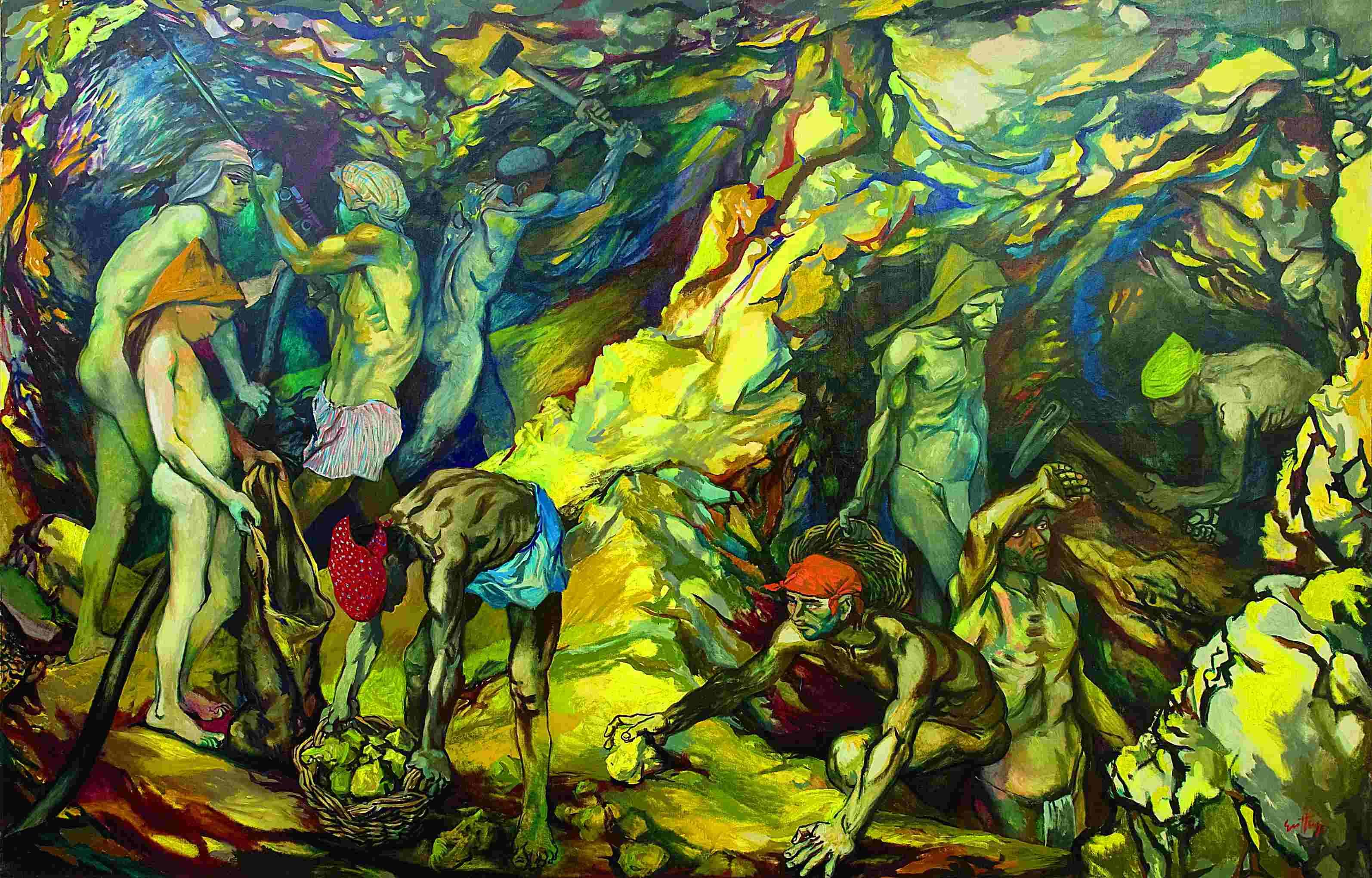Renato Guttuso, Zolfara, 1953, olio su tela, cm 201,5 x 311 Museo d'Arte Moderna 'Mario Rimoldi', Regole d'Ampezzo, Cortina d'Ampezzo