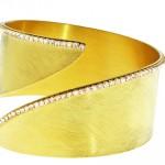 Bracciale rigido bronzo e ottone placcato oro 23 kt. con zirconi