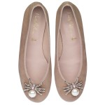 Rosario nude suede with jewelled spider - pair