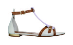 Sandalo Tstrap in vitello white e suede glycine