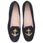 Faye blue suede gold anchor - pair