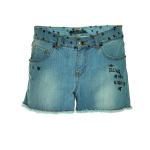"""jeans skinny in denim effetto lavato-used con stampa cuoricini neri su cintura e vicino alle tasche e scritta """"bling in the night"""". Rivetti Swarovski su tasche"""