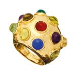 Anello in argento dorato e pietre naturali Rainbow