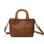 a.testoni ss15 - minibag intrecciata color caramel
