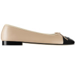 Ballerinas in beige and black leather G02819-X51318-C0204